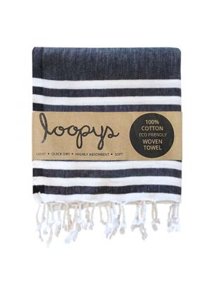 Black and White Striped Turkish Towel