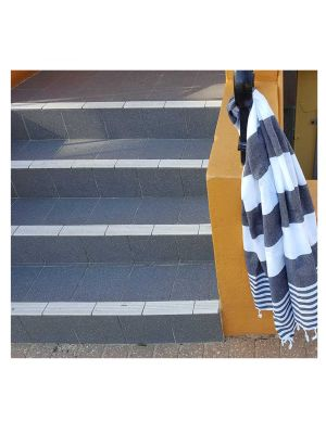 Black & White Double Stripe Turkish Towel