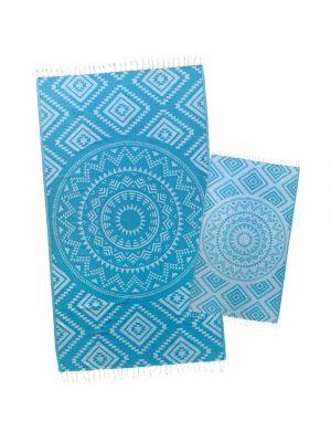 Caribbean Blue Aztec Tribal Turkish Towel