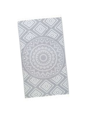 Grey Aztec Tribal Turkish Beach Towel