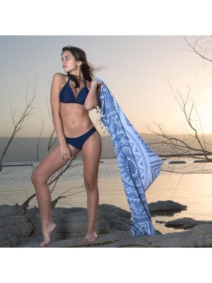 Denim Blue Boho Turkish Beach Towel