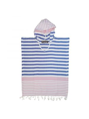 Pink and Blue Kids Poncho Hooded Towel
