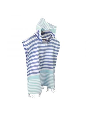 Mint and Denim Blue Kids Hooded Turkish Towel