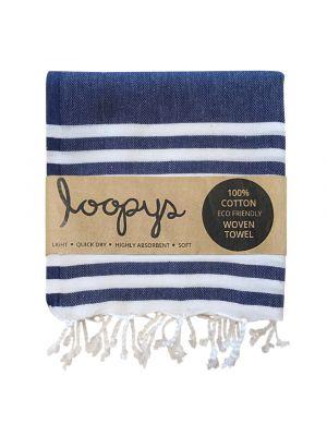 Navy and White stripe Turkish Towel