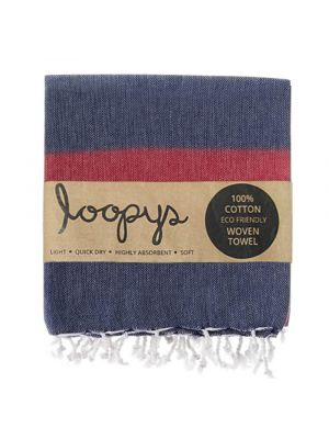 Loopys Navy and Red Turkish Towel