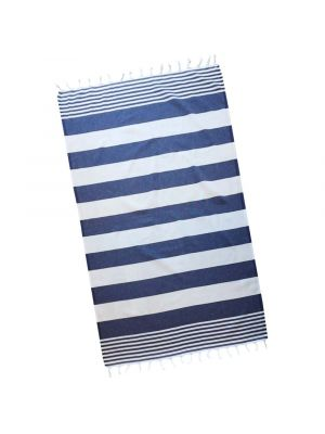 Navy & White Double Stripe Turkish Towel