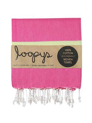 Loopys Pink and Lime striped Turkish Towel