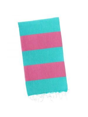 Turquoise / Bubblegum Pink Candy Stripe Turkish Towel