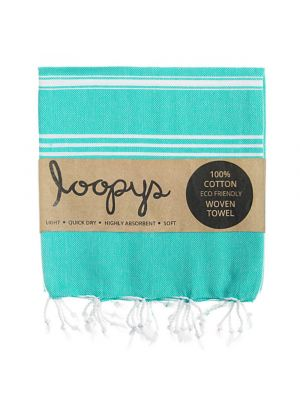 Loopys Turquoise Turkish Towel Beach Peshtemal