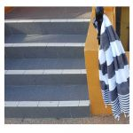 Black & White Double Stripe Turkish Towel