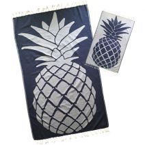 NAVY BLUE PINEAPPLE TURKISH HAMMAM BEACH TOWEL