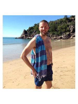 Navy/Ocean Blue Candy Stripe Turkish Towel