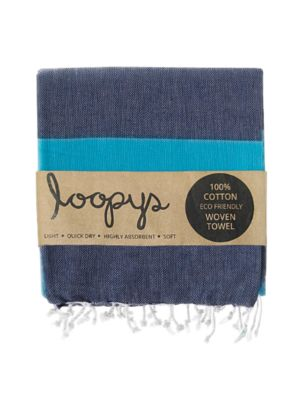 Navy/Ocean Blue Candy Stripe Turkish Towel