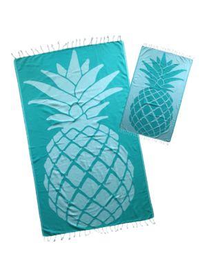 Turquoise Pineapple Design Turkish Towel