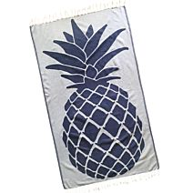 Navy Pineapple Design Turkish Towel