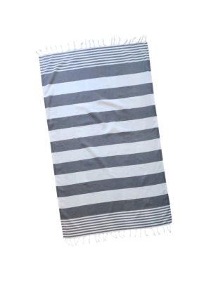 Dolphin Grey & White Double Stripe Turkish Towel