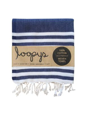 Navy & White Double Stripe Turkish Towel