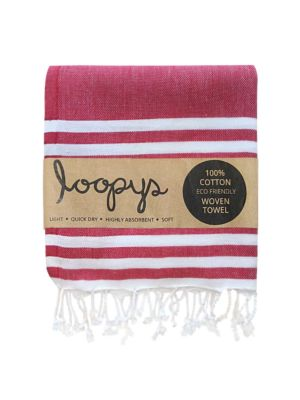 Scarlet Red & White Double Stripe Turkish Towel