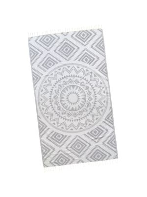 Cloud Grey Aztec Tribal Turkish Towel