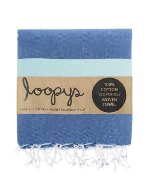 Denim Blue / Mint Candy Stripe Turkish Towel
