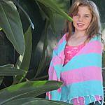 Turquoise / Bubblegum Pink Candy Stripe Turkish Towel
