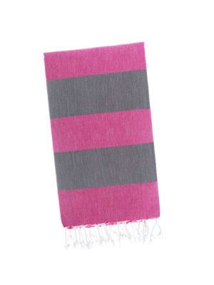 Pink Lemonade / Dolphin Grey Candy Stripe Turkish Towel