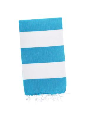 Caribbean Blue / White Candy Stripe Turkish Towel