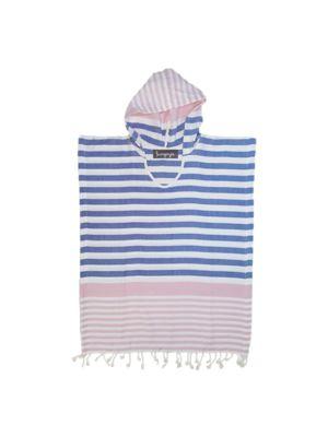 Pink and Denim Blue Kids Hooded Turkish Towel