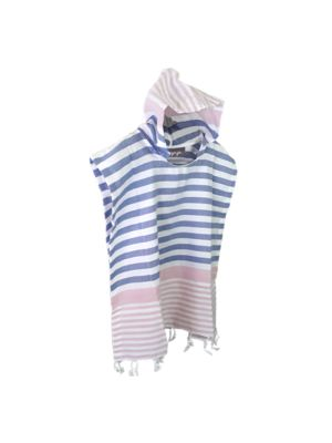Pink and Denim Blue Kids Hooded Turkish Towel