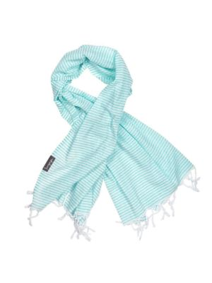 Turquoise and White Stripe Super Light Turkish Towel