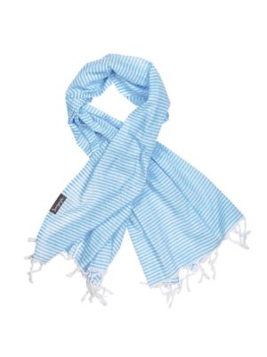 Bright Blue and White Stripe Super Light Turkish Towel